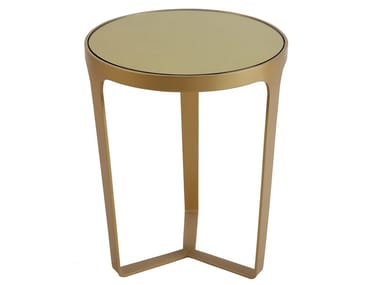 Round metal coffee table with mirror top ZLATY