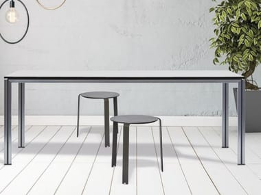 Rectangular crystal and stainless steel table ZOE | Crystal and stainless steel table