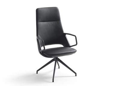 Trestle-based leather executive chair with armrests ZUMA   High-back executive chair