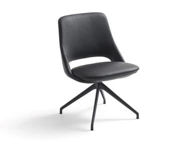 Swivel trestle-based open back leather chair ZUMA   Swivel chair
