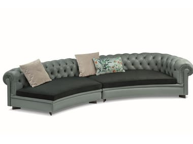 Tufted sectional modular leather sofa CHESTER LINE | Curved sofa
