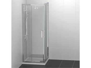 Cabine de douche d'angle en verre trempé à portes coulissantes CONNECT 2 - A/L