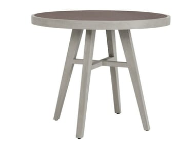 Teak round garden table with ceramic insert ROCK GARDEN | Round table