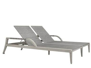 Double Recliner teak sun lounger with armrests ROCK GARDEN | Double sun lounger