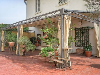 Wall-mounted pergola with sliding cover A