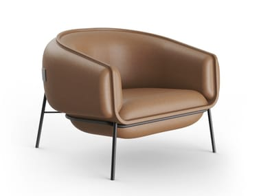Leather armchair with armrests BLOP | Leather armchair