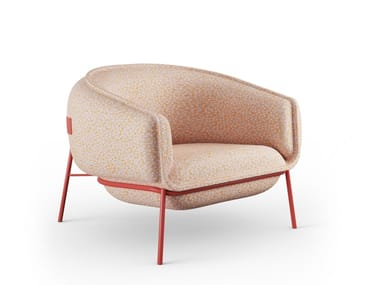 Fabric armchair with armrests BLOP | Fabric armchair