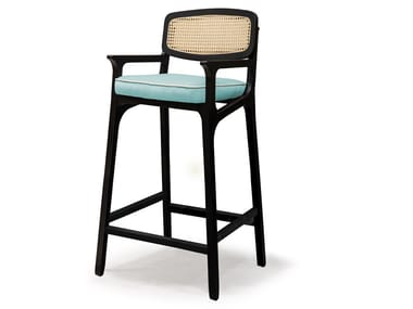 High wooden stool with armrests KARL | Stool