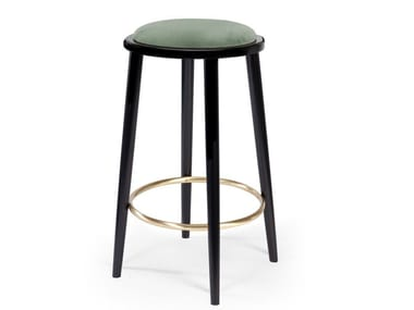High wooden stool with integrated cushion LUC | Stool