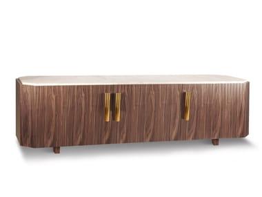 Wood veneer sideboard with doors MALCOLM | TV cabinet