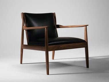 Upholstered leather armchair with armrests CLAUDE | Armchair