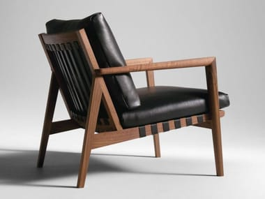 Upholstered leather armchair with armrests BLAVA | Armchair