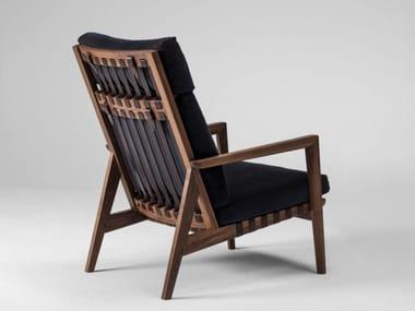 Upholstered high-back fabric armchair BLAVA | High-back armchair