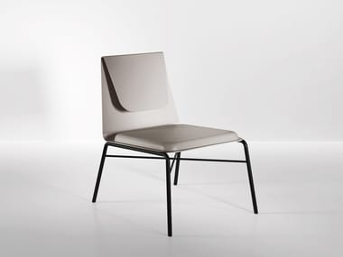 Metal easy chair with integrated cushion FOLD | Easy chair