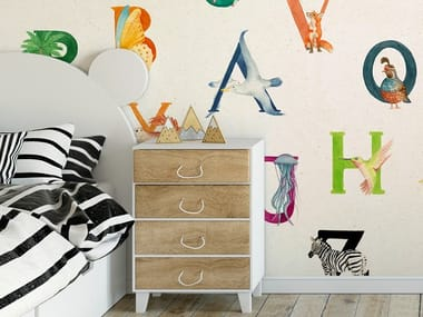 Ecological washable PVC free wallpaper A TO ZOO