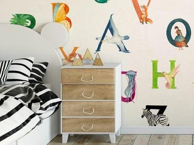 Papel de parede ecológico lavável livre de PVC A TO ZOO