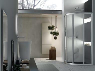 Corner semicircular shower cabin with sliding door A4 - 80 X 80 | Semicircular shower cabin