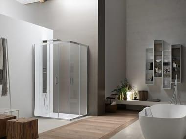 Box doccia angolare in vetro con porta scorrevole A6 | Box doccia angolare