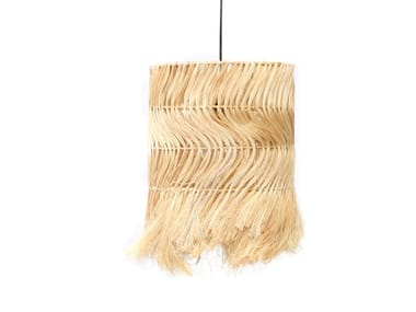 Drum shaped abacá lampshade ABACA KINKY