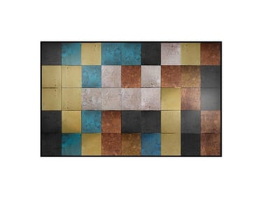 Rectangular stained glass mirror ABBEY