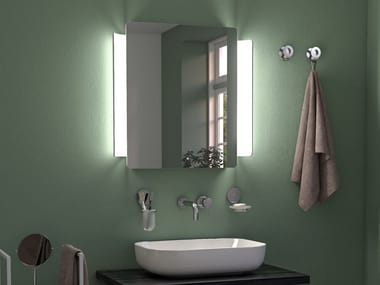 Rectangular wall-mounted mirror with integrated lighting ABBRACCIO LED