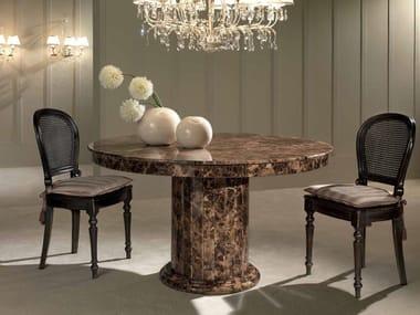 Round Dark Emperador marble table ACHILLE   Dark Emperador marble table