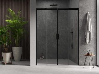 Cabina doccia in alluminio e vetro con porta scorrevole ACQUA 5000 NEW | Box doccia a nicchia