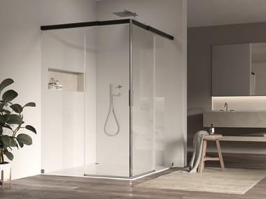 Cabina doccia in alluminio e vetro con porta scorrevole ACQUA 5000 NEW | Box doccia quadrato