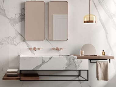 Wall-mounted porcelain stoneware vanity unit ACQUA B
