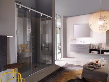 Box doccia a nicchia con porta scorrevole a quattro ante ACRUX | Box doccia a nicchia