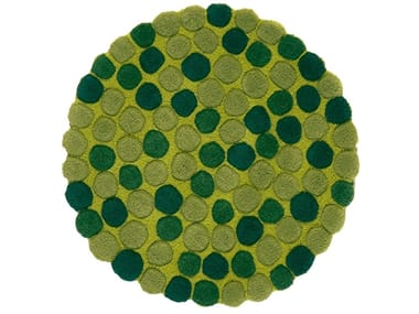 Round wool rug with geometric shapes ADOK | Round rug