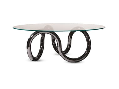 Tavolo da pranzo rotondo in vetro AENIGMA | Tavolo