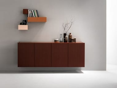 Wooden sideboard with folding doors AERO | Suspended sideboard