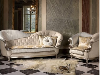 Upholstered fabric armchair with armrests AGATHA | Tufted armchair