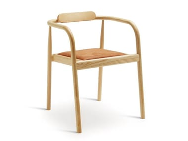 Open back stackable ash chair AHM | Upholstered chair