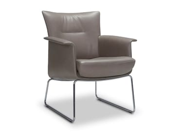 Sled base leather armchair with armrests AIDA | Sled base armchair