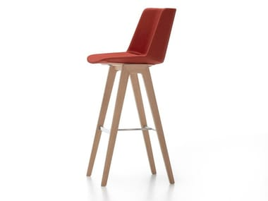 High fabric stool with back AÏKU STOOL | Fabric stool