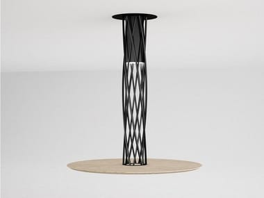 Round steel and wood table AIR | Round table