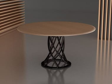 Round steel and wood table AIR | Steel and wood table