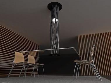Rectangular crystal and steel table AIR | Rectangular table