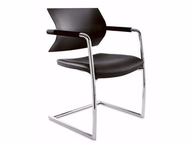 Cantilever upholstered polypropylene and leather chair AIRE JR | Cantilever chair