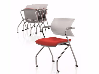 Folding chair with armrests with castors AIRE JR | Folding chair