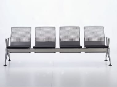 Freestanding steel beam seating with armrests AIRLINE | Steel beam seating