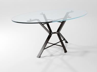 Mesa de jantar oval de cristal AIX   Mesa de cristal