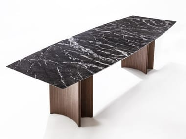 Rectangular marble table and canaletta walnut base ALAN | Rectangular table