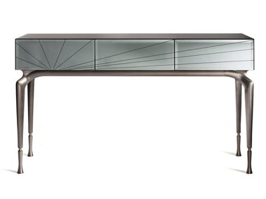 Mirrored glass console table with drawers ALBA