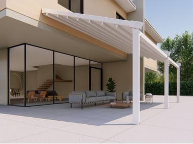 Wall-mounted motorized aluminium and PVC pergola ALBORI