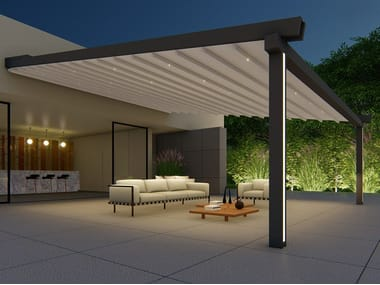 Wall-mounted motorized aluminium and PVC pergola with built-in lights ALBORI TWIN