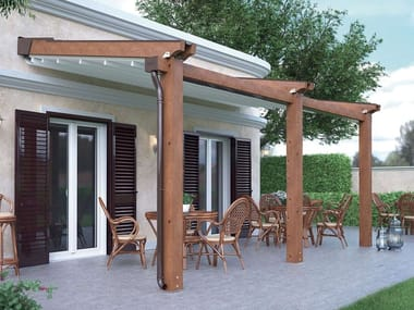 Wall-mounted motorized wood-PVC pergola ALBORI WOOD