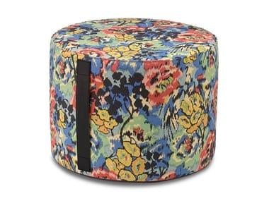 Pouf cilindro in tessuto stampato motivo floreale ALBUQUERQUE